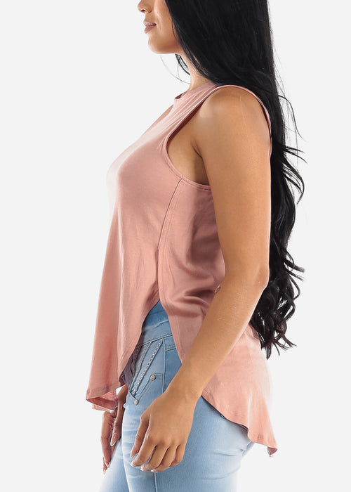 Sleeveless Mauve Muscle Tee