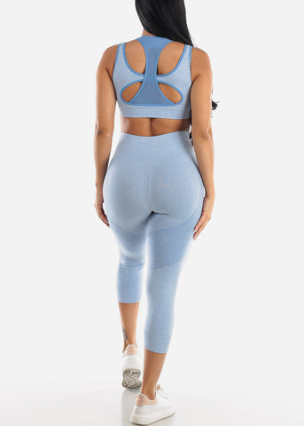 Image of Activewear Blue Sports Bra & Leggings (2 PCE SET)