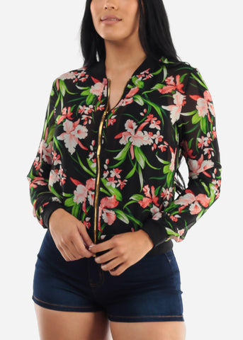Long Sleeve Black Floral Jacket