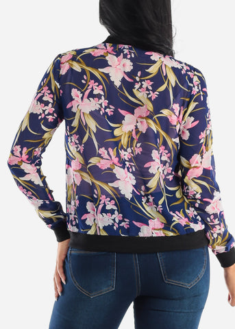 Image of Long Sleeve Zip Up Navy Floral Jacket