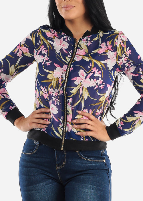 Long Sleeve Zip Up Navy Floral Jacket