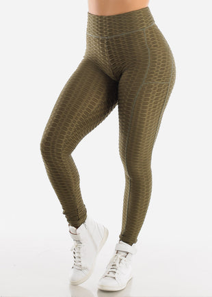 Activewear Anti Cellulite Butt Lift Olive Leggings