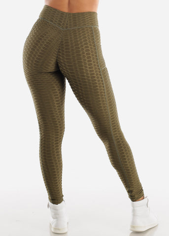 Image of Activewear Anti Cellulite Butt Lift Olive Leggings