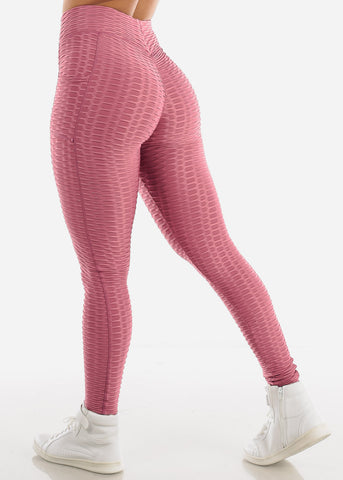 Activewear Textured Butt Lift Mauve Leggings
