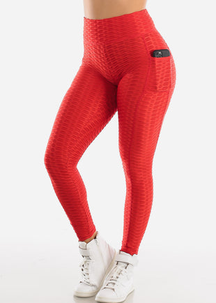 Activewear Anti Cellulite Butt Lift Red Leggings