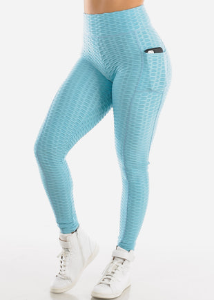 Activewear Anti Cellulite Butt Lift Light Blue Leggings