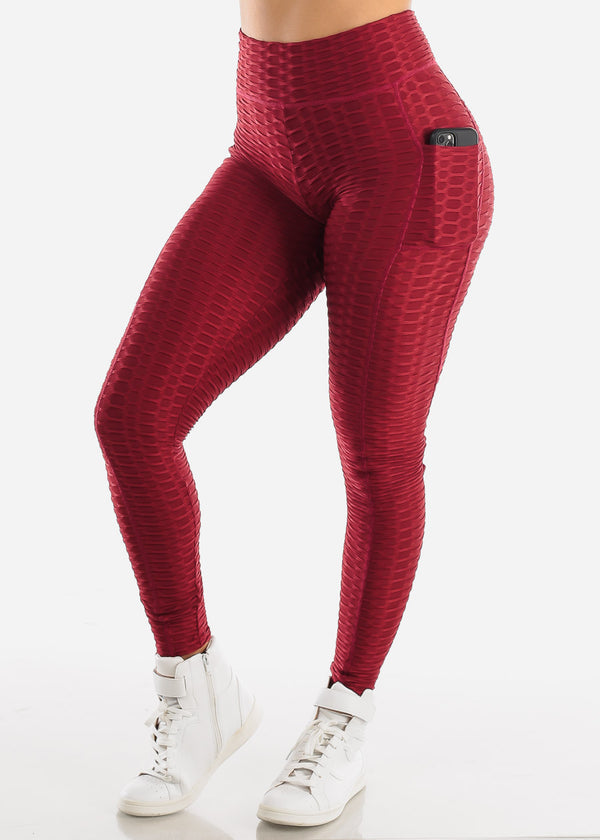 Activewear Textured Butt Lift Burgundy Leggings