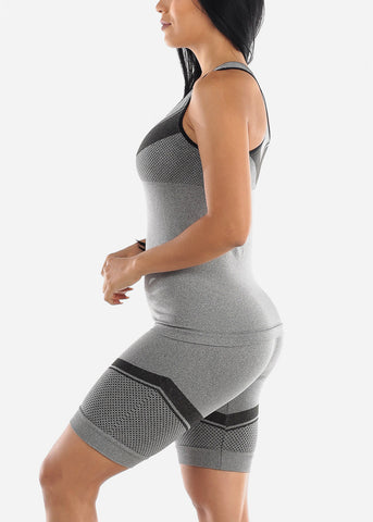 Image of Activewear Black Trim Top & Shorts (2 PCE SET)