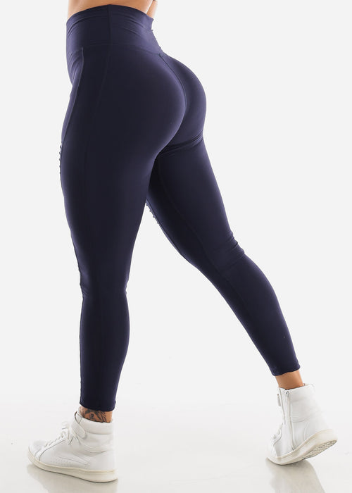 Activewear Moto Style Navy Leggings