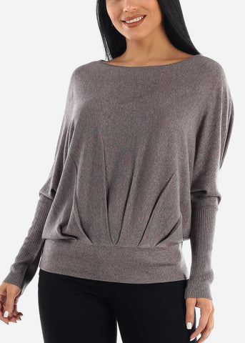 Image of Stylish Bat Wing Gray Sweater