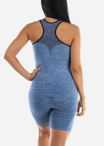 Image of Activewear Blue Top & Shorts (2 PCE SET)