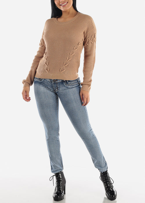 Long Sleeve Knitted Khaki Sweater