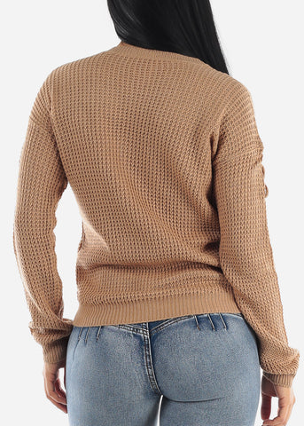 Image of Long Sleeve Knitted Khaki Sweater