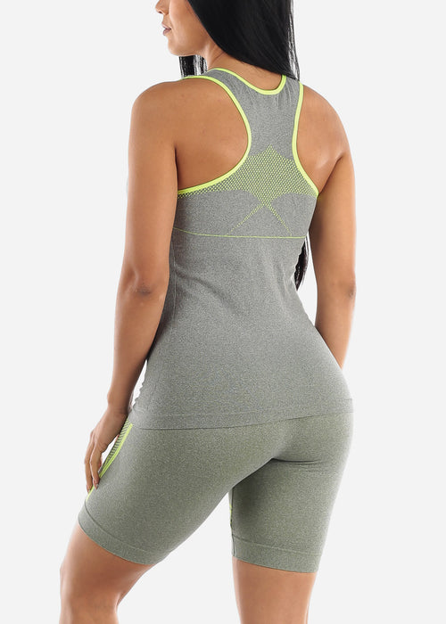 Activewear Green Trim Top & Shorts (2 PCE SET)