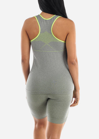 Image of Activewear Green Trim Top & Shorts (2 PCE SET)