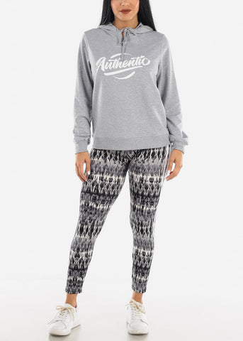 Image of Grey Printed Leggings