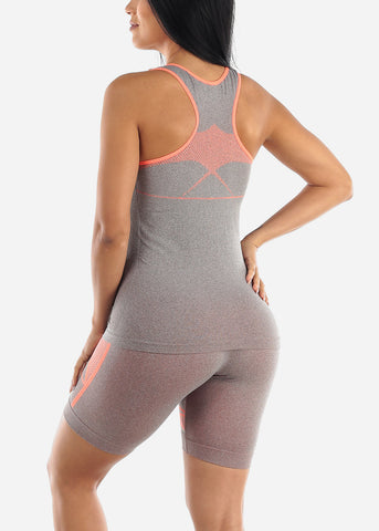 Activewear Orange Trim Top & Shorts (2 PCE SET)