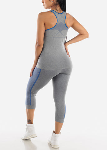 Activewear Blue Trim Top & Capris (2 PCE SET)