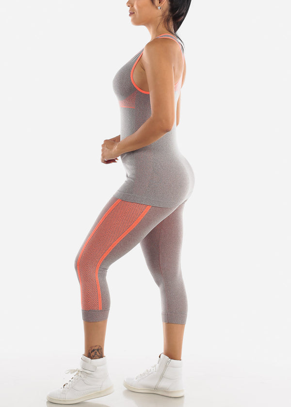 Activewear Orange Trim Top & Capris (2 PCE SET)