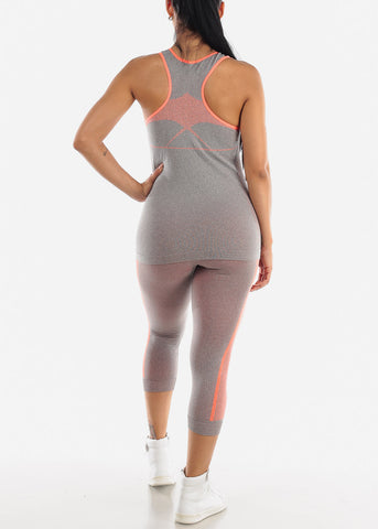 Image of Activewear Orange Trim Top & Capris (2 PCE SET)