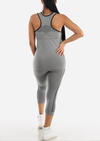 Activewear Black Trim Top & Capris (2 PCE SET)