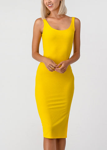 Side Slit Yellow Bodycon Midi Dress