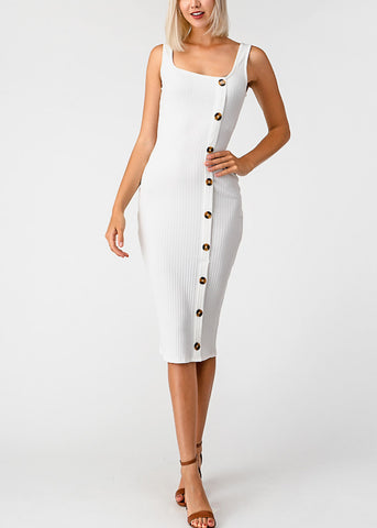 Image of Side Button Up White Bodycon Midi Dress