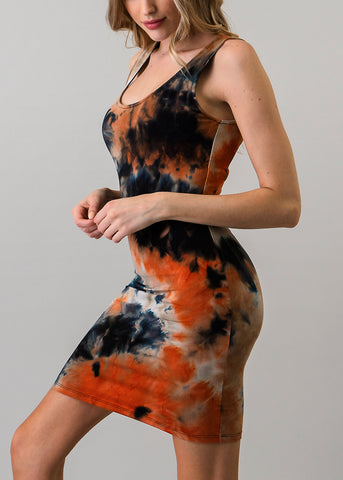 Image of Black Tie Dye Bodycon Mini Dress