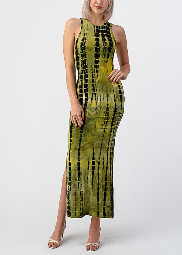 Green Tie Dye Sleeveless Maxi Dress