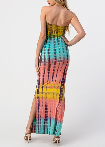 Image of Yellow Tie Dye Strapless Maxi Dress