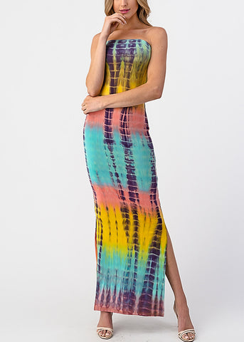Yellow Tie Dye Strapless Maxi Dress