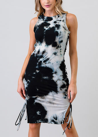 Tie Dye Lace Up Sides Bodycon Dress