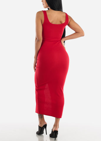 Image of Buttons Front Red Bodycon Maxi Dress