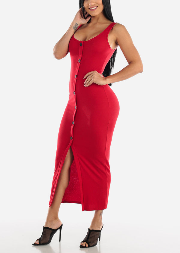 Buttons Front Red Bodycon Maxi Dress