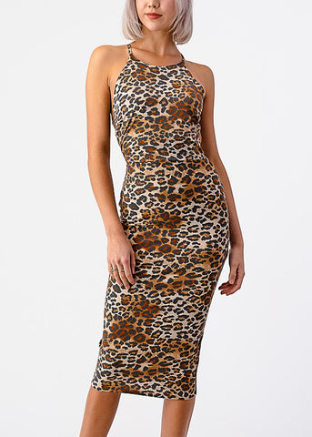 Image of Halter Animal Print Bodycon Dress