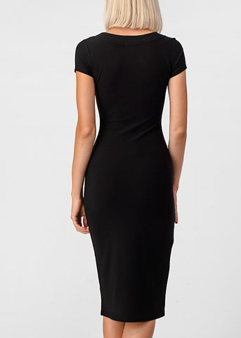 Image of Half Button Up Black Bodycon Dress