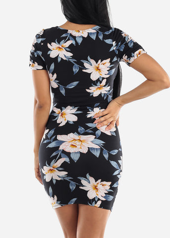 Ruched Sleeves Floral Black Dress