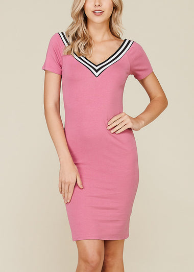 Stripe V Neckline Pink Bodycon Dress