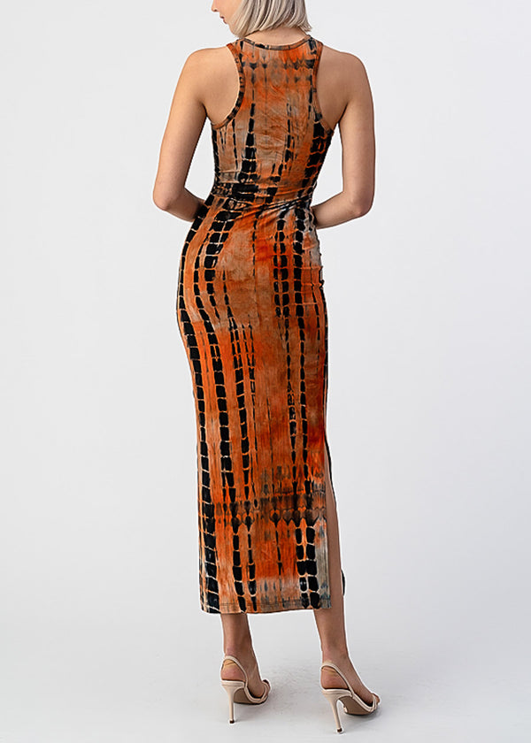 Orange Tie Dye Sleeveless Maxi Dress