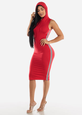 Image of Stripe Sides Red Bodycon Dress
