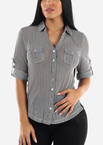 Navy & Ivory Striped Collared Top