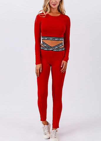 Image of Activewear Crossover Waist Red Leggings