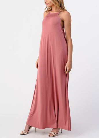 Sleeveless High Neck Pink Maxi Dress