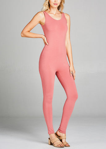 Image of Sleeveless Basic Peach Jumpsuit