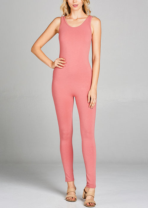 Sleeveless Basic Peach Jumpsuit