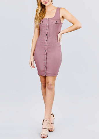 Image of Button Down Mauve Mini Dress