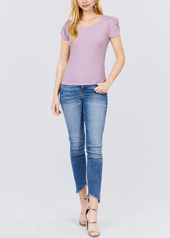 Image of Short Tulip Puff Sleeve Lilac Top