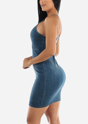 Image of Crisscross Back Denim Mini Dress