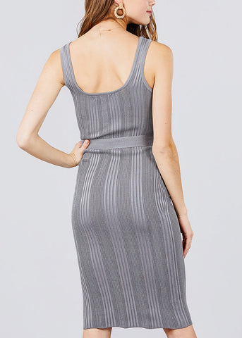 Grey Knit Bodycon Midi Dress