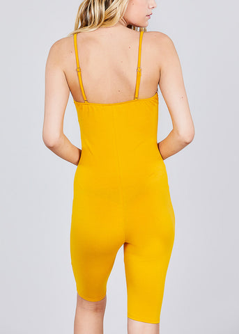 Image of Sleeveless Mustard Romper